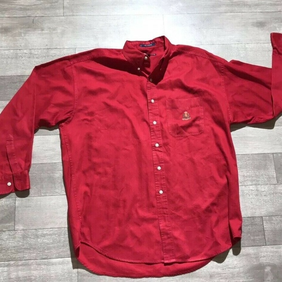 23d9fa11f00b0a Chaps Shirts | 90s Vintage Ralph Lauren Red Button Up Large | Poshmark